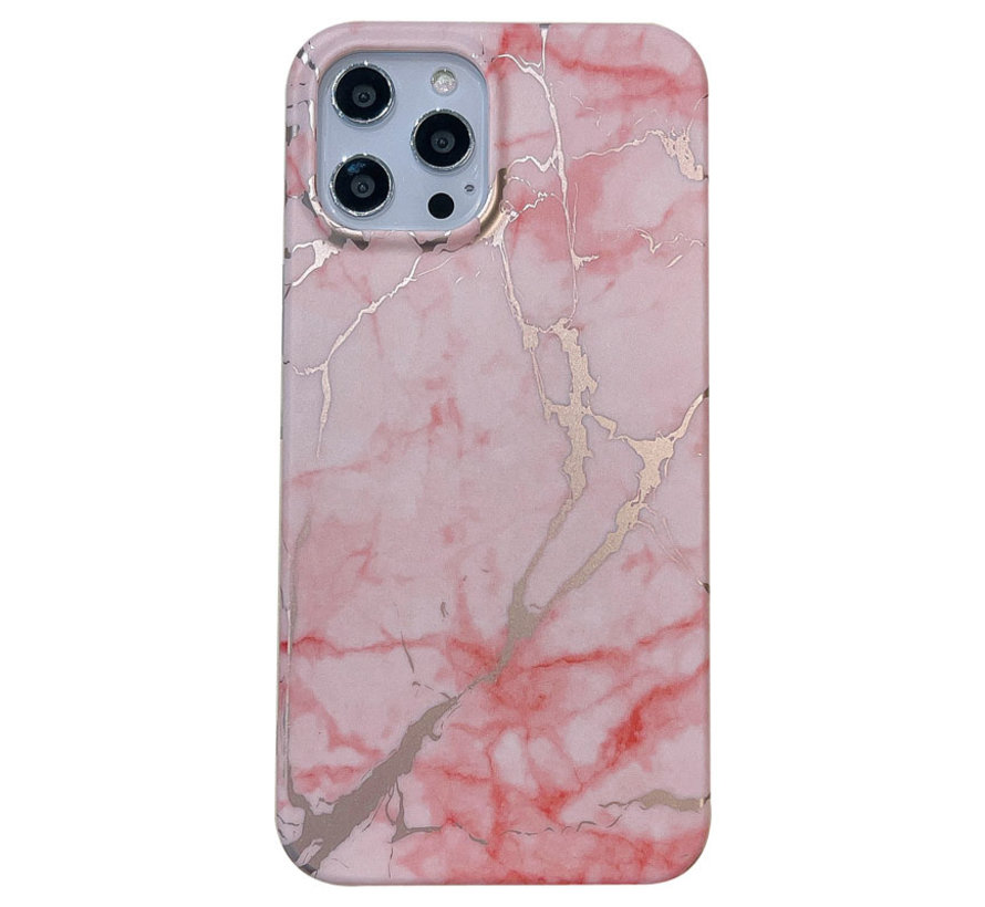 iPhone 12 Pro Max Back Cover Hoesje Marmer - Marmerprint - Marble Design - Soft TPU - Backcover - Apple iPhone 12 Pro Max - Marmer Roze