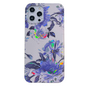 JVS Products iPhone 8 Back Cover Hoesje - Bloemenprint - Bloemen - Soft TPU - Backcover - Apple iPhone 8 - Wit / Paars