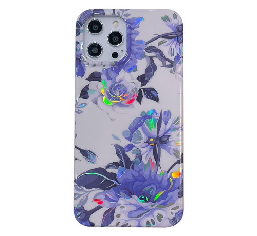JVS Products iPhone 12 Pro Max Back Cover Hoesje - Bloemenprint - Bloemen - Soft TPU - Backcover - Apple iPhone 12 Pro Max - Wit / Paars