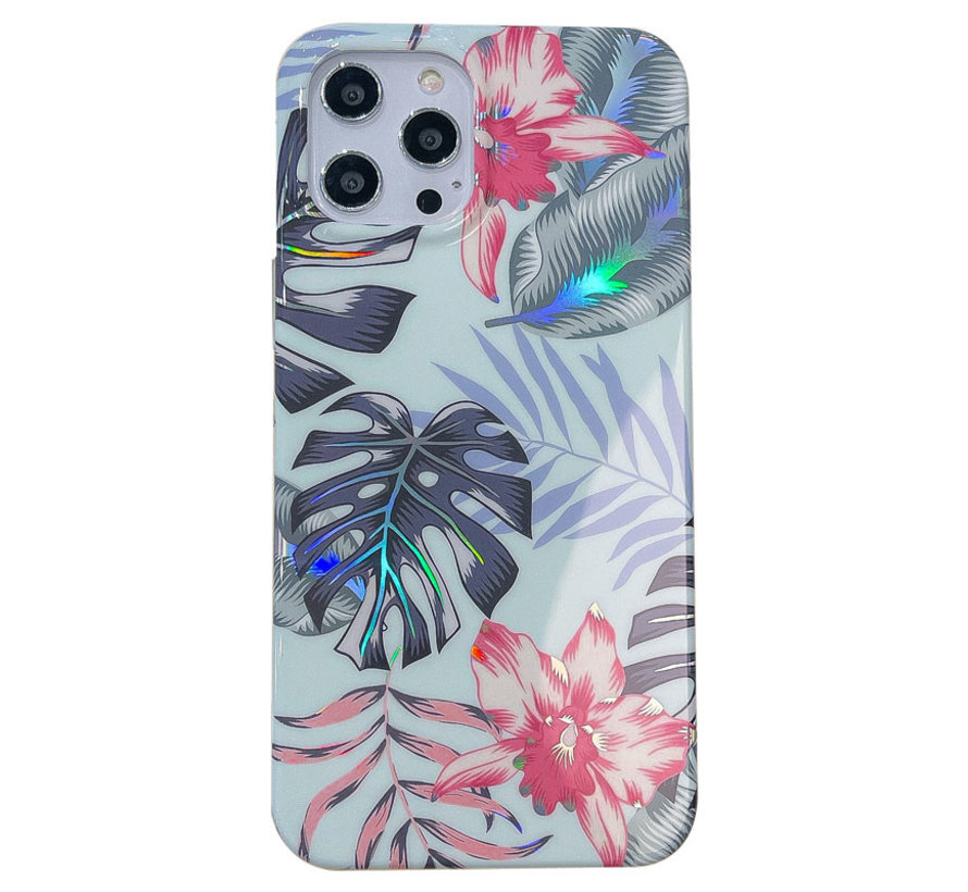 Samsung Galaxy A51 Back Cover Hoesje - Bloemenprint - Bloemen - Soft TPU - Backcover - Samsung Galaxy A51 - Groen / Blauw