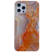 JVS Products iPhone 11 Pro Max Back Cover Hoesje Marmer - Marmerprint - Marble Design - Soft TPU - Backcover - Apple iPhone 11 Pro Max - Marmer Oranje