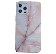 JVS Products iPhone 12 Pro Back Cover Hoesje Marmer - Marmerprint - Marble Design - Soft TPU - Backcover - Apple iPhone 12 Pro - Marmer Beige / Wit