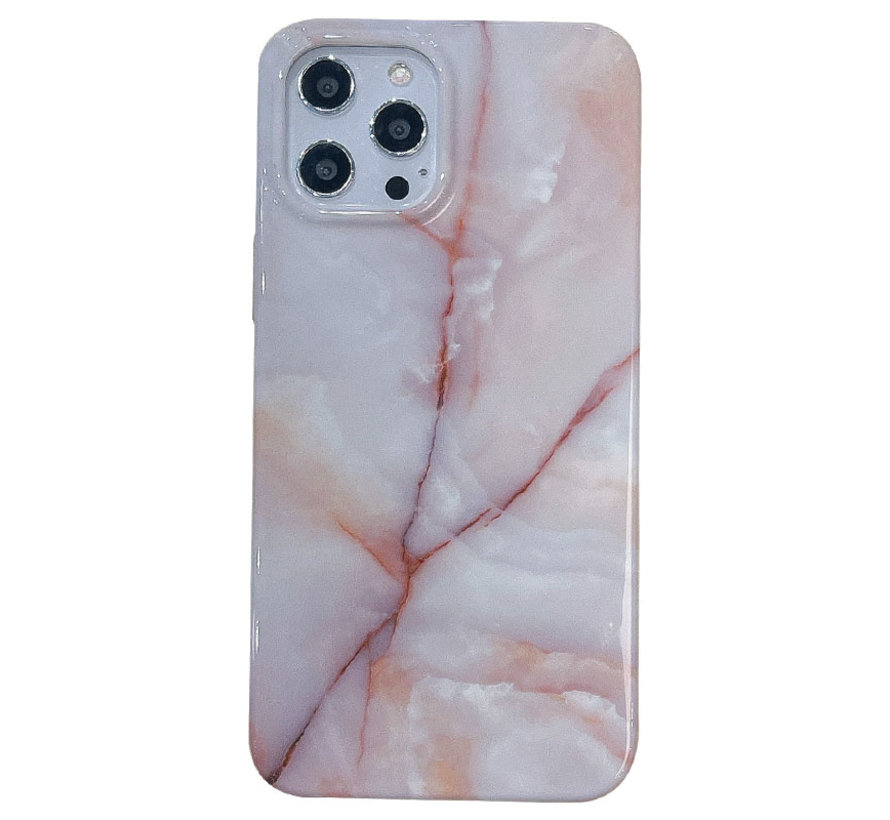 iPhone 12 Pro Back Cover Hoesje Marmer - Marmerprint - Marble Design - Soft TPU - Backcover - Apple iPhone 12 Pro - Marmer Beige / Wit