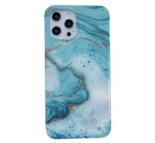 JVS Products iPhone 12 Pro Max Back Cover Hoesje Marmer - Marmerprint - Marble Design - Soft TPU - Backcover - Apple iPhone 12 Pro Max - Marmer Turquoise / Groen