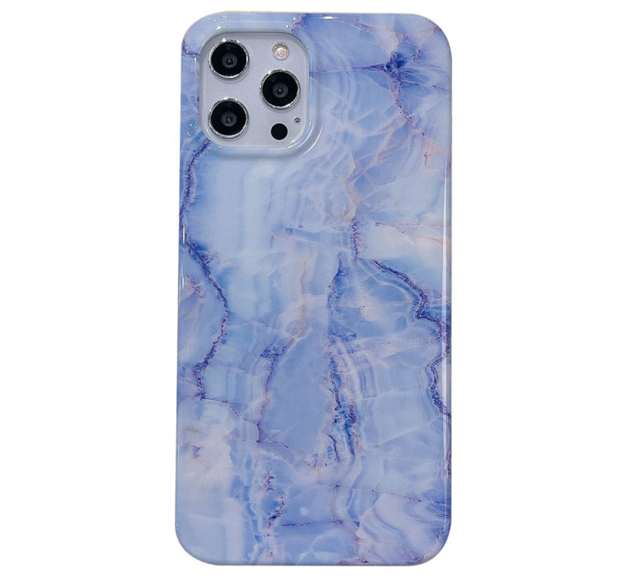 iPhone 12 Pro Max Back Cover Hoesje Marmer - Marmerprint - Marble Design - Soft TPU - Backcover - Apple iPhone 12 Pro Max - Marmer Blauw / Paars