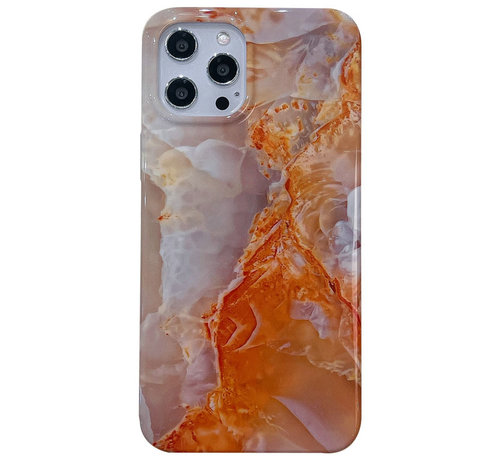 JVS Products iPhone 12 Pro Max Back Cover Hoesje Marmer - Marmerprint - Marble Design - Soft TPU - Backcover - Apple iPhone 12 Pro Max - Marmer Oranje