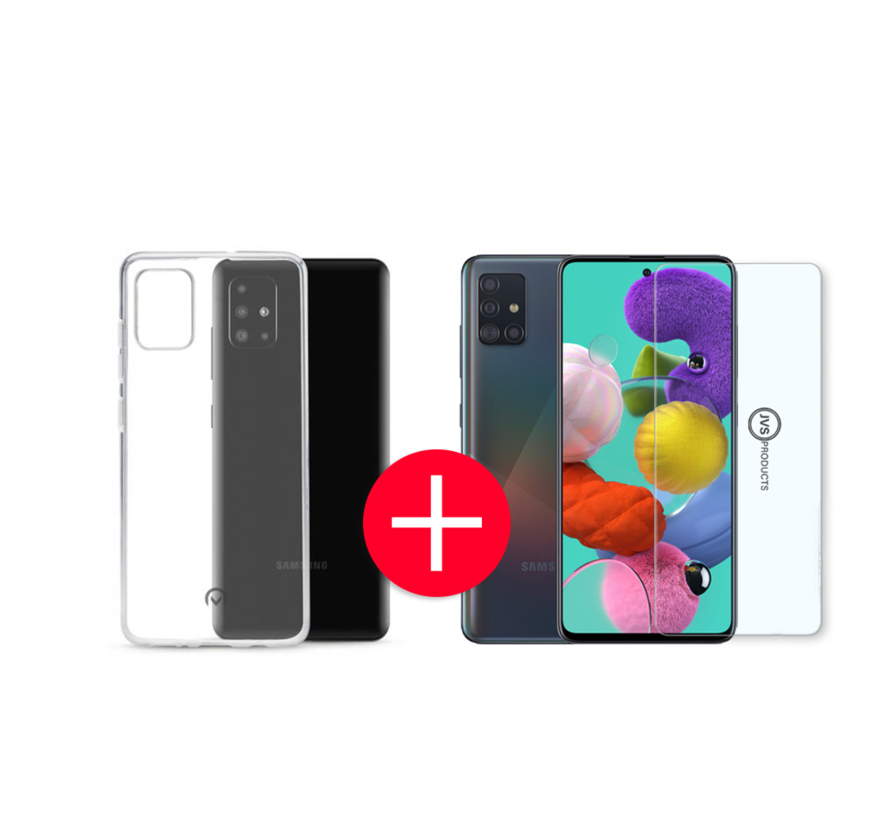 Samsung Galaxy A51 Transparant Hoesje + GRATIS Screenprotector - Transparant - Extra Dun - Samsung Galaxy A51 - Hoes - Cover - Case - Screenprotector kit