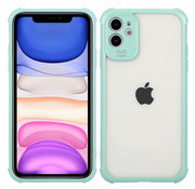 JVS Products iPhone 7 Anti Shock Hoesje met Camera Bescherming - Back Cover - Siliconen - Case - TPU - Schokbestendig - Apple iPhone 7 - Transparant / Turquoise