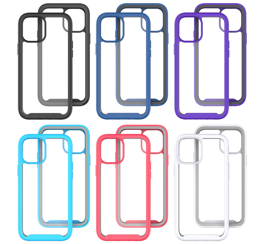iPhone 7 Full Body Hoesje - 2-delig - Rugged - Back Cover - Siliconen - Case - TPU - Schokbestendig - Apple iPhone 7 - Transparant / Donkerblauw