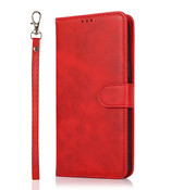 JVS Products Samsung Galaxy A42 Book Case hoesje 2 in 1 met koord - Back Cover - Magneetsluiting - Pasjeshouder - Kunstleer - Flipcase Hoesje - Samsung Galaxy A42 - Rood