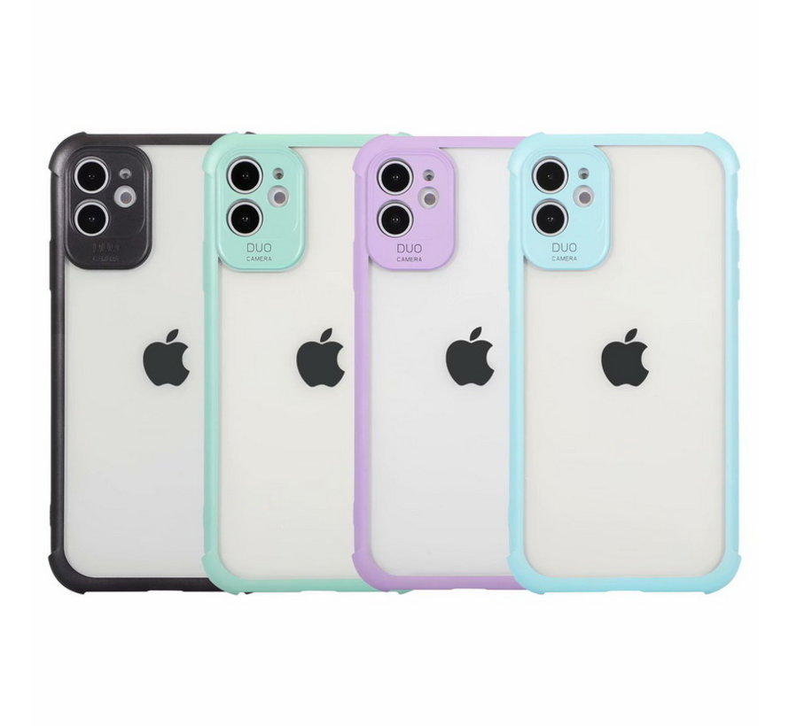 iPhone XS Max Anti Shock Hoesje met Camera Bescherming - Back Cover - Siliconen - Case - TPU - Schokbestendig - Apple iPhone XS Max - Transparant / Turquoise