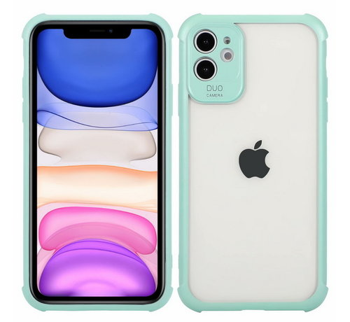 JVS Products iPhone 11 Anti Shock Hoesje met Camera Bescherming - Back Cover Siliconen Case TPU Schokbestendig - Apple iPhone 11 - Transparant / Turquoise