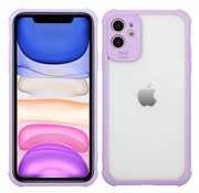 JVS Products iPhone 11 Anti Shock Hoesje met Camera Bescherming - Back Cover Siliconen Case TPU Schokbestendig - Apple iPhone 11 - Transparant / Paars