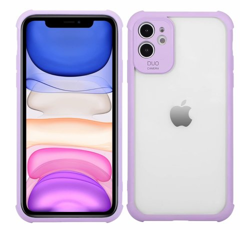 JVS Products iPhone 11 Pro Max Anti Shock Hoesje met Camera Bescherming - Back Cover Siliconen Case TPU Schokbestendig - Apple iPhone 11 Pro Max - Transparant / Paars