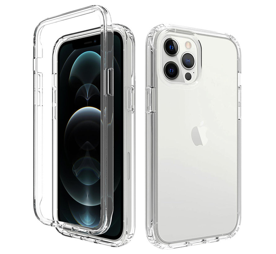 iPhone X/10 Full Body Hoesje - 2-delig - Back Cover - Siliconen - Case - TPU - Schokbestendig - Apple iPhone X/10 - Transparant