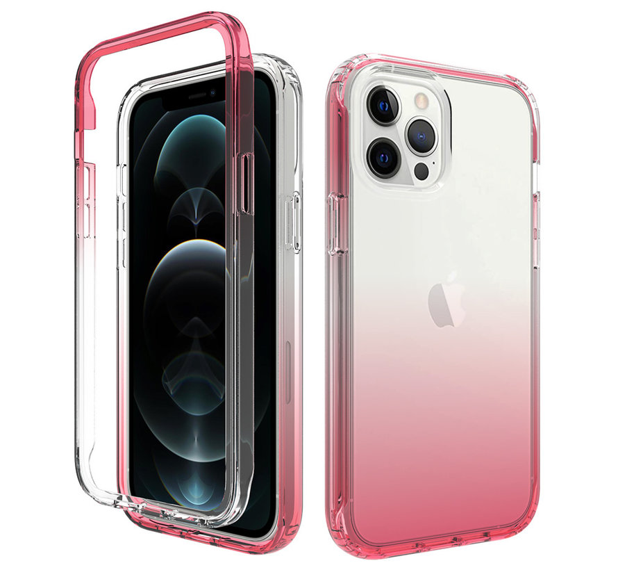 iPhone XR Full Body Hoesje - 2-delig - Back Cover - Siliconen - Case - TPU - Schokbestendig - Apple iPhone XR - Transparant / Roze