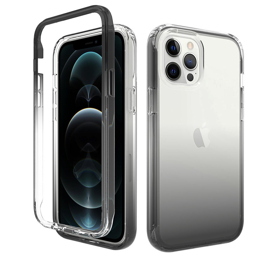 iPhone XS Max Full Body Hoesje - 2-delig - Back Cover - Siliconen - Case - TPU - Schokbestendig - Apple iPhone XS Max - Transparant / Zwart