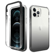 JVS Products iPhone 11 Full Body Hoesje - 2-delig Back Cover Siliconen Case TPU Schokbestendig - Apple iPhone 11 - Transparant / Zwart