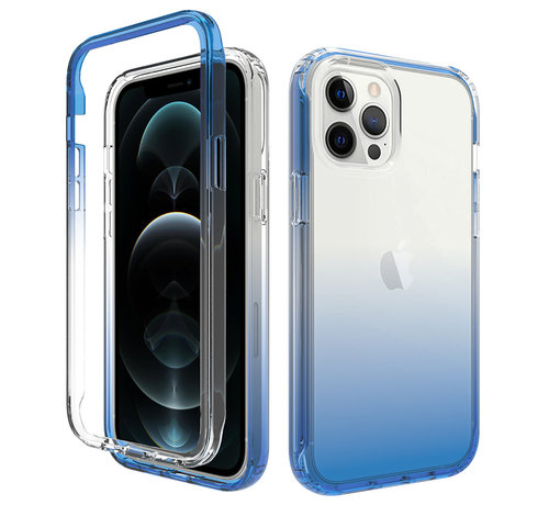 JVS Products iPhone 12 Full Body Hoesje - 2-delig - Back Cover - Siliconen - Case - TPU - Schokbestendig - Apple iPhone 12 - Transparant / Blauw