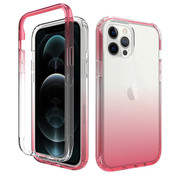 JVS Products iPhone 12 Full Body Hoesje - 2-delig - Back Cover - Siliconen - Case - TPU - Schokbestendig - Apple iPhone 12 - Transparant / Roze