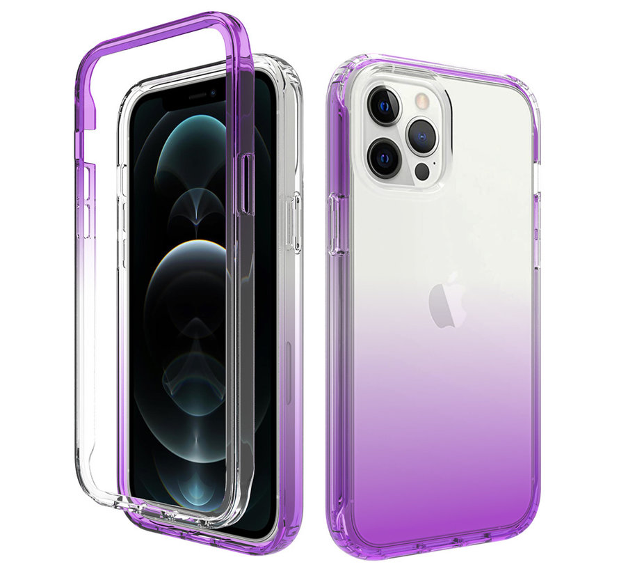 iPhone 12 Full Body Hoesje - 2-delig - Back Cover - Siliconen - Case - TPU - Schokbestendig - Apple iPhone 12 - Transparant / Paars