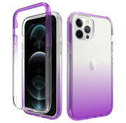 JVS Products iPhone 12 Pro Full Body Hoesje - 2-delig - Back Cover - Siliconen - Case - TPU - Schokbestendig - Apple iPhone 12 Pro - Transparant / Paars
