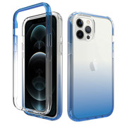 JVS Products iPhone 12 Pro Max Full Body Hoesje - 2-delig - Back Cover - Siliconen - Case - TPU - Schokbestendig - Apple iPhone 12 Pro Max - Transparant / Blauw