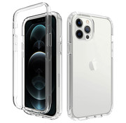 JVS Products iPhone 12 Pro Max Full Body Hoesje - 2-delig - Back Cover - Siliconen - Case - TPU - Schokbestendig - Apple iPhone 12 Pro Max - Transparant