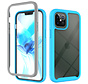 iPhone XR Full Body Hoesje - 2-delig - Rugged - Back Cover - Siliconen - Case - TPU - Schokbestendig - Apple iPhone XR - Transparant / Lichtblauw