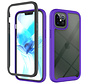 iPhone 11 Full Body Hoesje - 2-delig Rugged Back Cover Siliconen Case TPU Schokbestendig - Apple iPhone 11 - Transparant / Paars