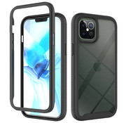 JVS Products iPhone 11 Pro Full Body Hoesje - 2-delig Rugged Back Cover Siliconen Case TPU Schokbestendig - Apple iPhone 11 Pro - Transparant / Zwart