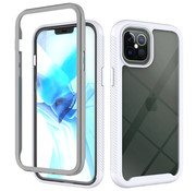 JVS Products iPhone 11 Pro Max Full Body Hoesje - 2-delig - Rugged - Back Cover - Siliconen - Case - TPU - Schokbestendig - Apple iPhone 11 Pro Max - Transparant / Wit