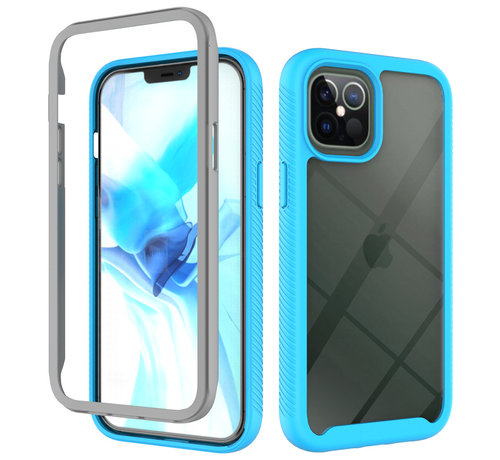 JVS Products iPhone 11 Pro Max Full Body Hoesje - 2-delig Rugged Back Cover Siliconen Case TPU Schokbestendig - Apple iPhone 11 Pro Max - Transparant / Lichtblauw
