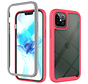 iPhone 11 Pro Max Full Body Hoesje - 2-delig - Rugged - Back Cover - Siliconen - Case - TPU - Schokbestendig - Apple iPhone 11 Pro Max - Transparant / Roze