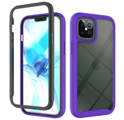 JVS Products iPhone 11 Pro Max Full Body Hoesje - 2-delig Rugged Back Cover Siliconen Case TPU Schokbestendig - Apple iPhone 11 Pro Max - Transparant / Paars