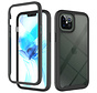 iPhone 11 Pro Max Full Body Hoesje - 2-delig - Rugged - Back Cover - Siliconen - Case - TPU - Schokbestendig - Apple iPhone 11 Pro Max - Transparant / Zwart