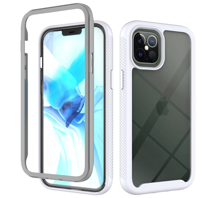 iPhone 12 Full Body Hoesje - 2-delig - Rugged - Back Cover - Siliconen - Case - TPU - Schokbestendig - Apple iPhone 12 - Transparant / Wit