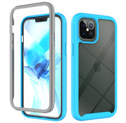 JVS Products iPhone 12 Full Body Hoesje - 2-delig - Rugged - Back Cover - Siliconen - Case - TPU - Schokbestendig - Apple iPhone 12 - Transparant / Lichtblauw