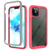 JVS Products iPhone 12 Full Body Hoesje - 2-delig - Rugged - Back Cover - Siliconen - Case - TPU - Schokbestendig - Apple iPhone 12 - Transparant / Roze