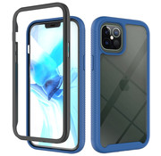 JVS Products iPhone 12 Full Body Hoesje - 2-delig - Rugged - Back Cover - Siliconen - Case - TPU - Schokbestendig - Apple iPhone 12 - Transparant / Donkerblauw