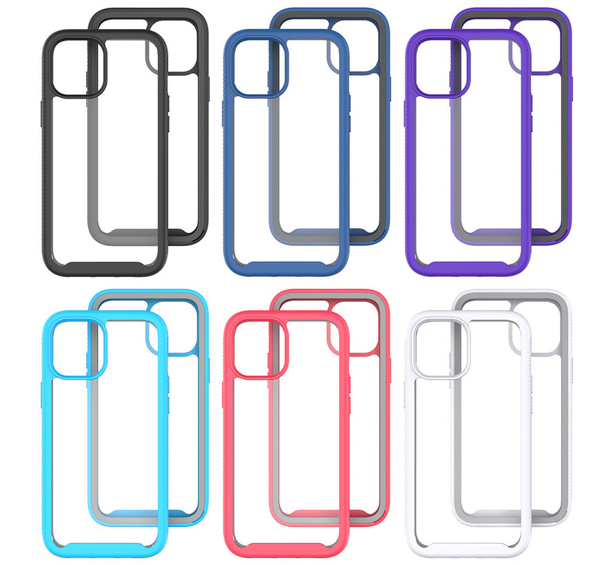 iPhone 12 Full Body Hoesje - 2-delig - Rugged - Back Cover - Siliconen - Case - TPU - Schokbestendig - Apple iPhone 12 - Transparant / Donkerblauw