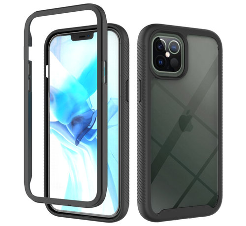 JVS Products iPhone 12 Full Body Hoesje - 2-delig - Rugged - Back Cover - Siliconen - Case - TPU - Schokbestendig - Apple iPhone 12 - Transparant / Zwart