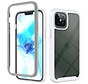 iPhone 12 Pro Full Body Hoesje - 2-delig - Rugged - Back Cover - Siliconen - Case - TPU - Schokbestendig - Apple iPhone 12 Pro - Transparant / Wit