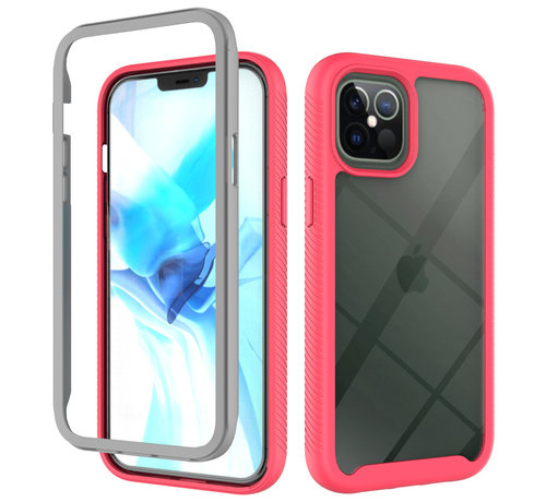 JVS Products iPhone 12 Pro Full Body Hoesje - 2-delig - Rugged - Back Cover - Siliconen - Case - TPU - Schokbestendig - Apple iPhone 12 Pro - Transparant / Roze