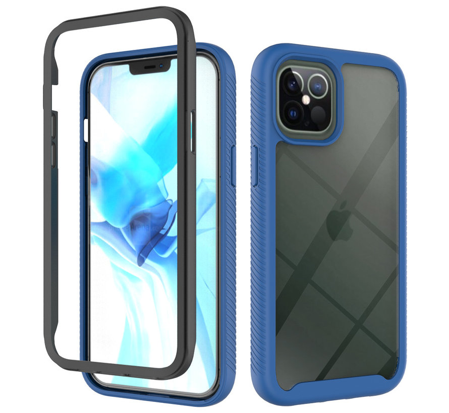 iPhone 12 Pro Full Body Hoesje - 2-delig - Rugged - Back Cover - Siliconen - Case - TPU - Schokbestendig - Apple iPhone 12 Pro - Transparant / Donkerblauw