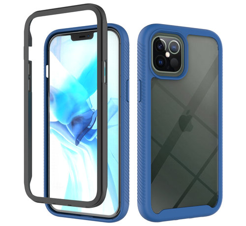 JVS Products iPhone 12 Pro Max Full Body Hoesje - 2-delig - Rugged - Back Cover - Siliconen - Case - TPU - Schokbestendig - Apple iPhone 12 Pro Max - Transparant / Donkerblauw