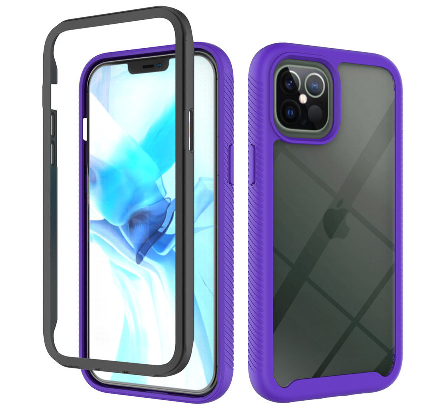 iPhone 12 Mini Full Body Hoesje - 2-delig - Rugged - Back Cover - Siliconen - Case - TPU - Schokbestendig - Apple iPhone 12 Mini - Transparant / Paars