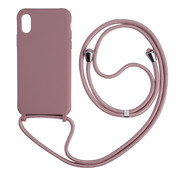 JVS Products iPhone 12 Pro Max Back Cover Hoesje met Koord - Back Cover - Silliconen - Flexibel - Koord - Apple iPhone 12 Pro Max - Oudroze