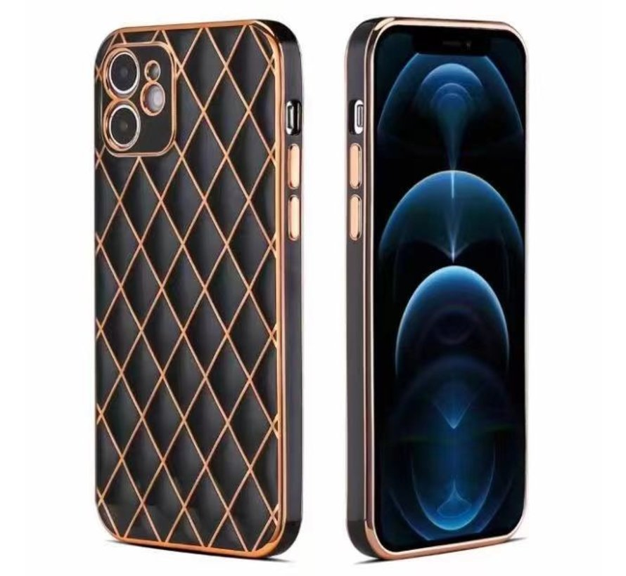 iPhone 7 Luxe Geruit Back Cover Hoesje - Silliconen - Ruitpatroon - Back Cover - Apple iPhone 7 - Zwart