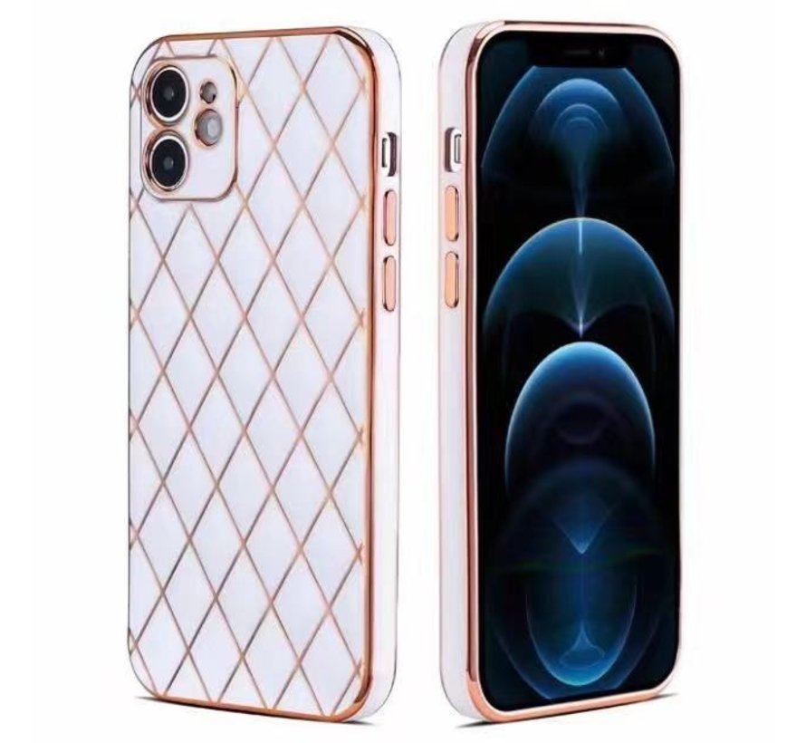 iPhone 7 Luxe Geruit Back Cover Hoesje - Silliconen - Ruitpatroon - Back Cover - Apple iPhone 7 - Wit